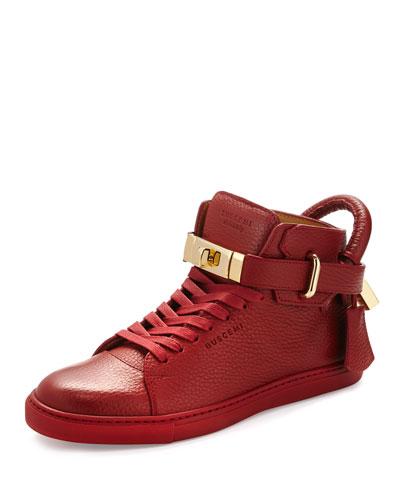 Women's Padlock & Key Pebbled Leather Sneaker, Red