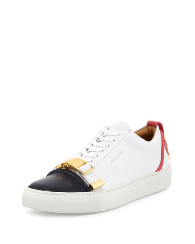 Belted-Toe Leather Sneaker, White/Coral/Ocean
