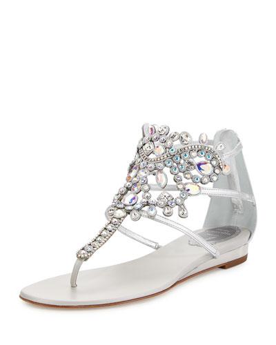 Crystal-Chandelier Thong Sandal, Argento/Crystal