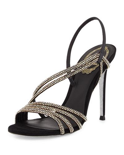 Jeweled Asymmetric Slingback Sandal, Nero/Argento