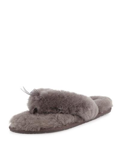 Fluff Fur Flip Flop Slipper, Gray