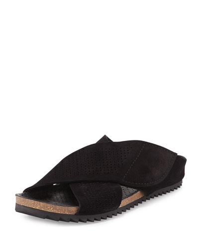 Alena Perforated Flat Sandal, Black