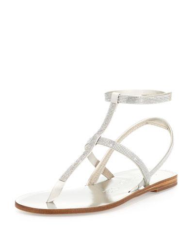 Ilania Crystal-Embellished Flat Sandal, Platinum