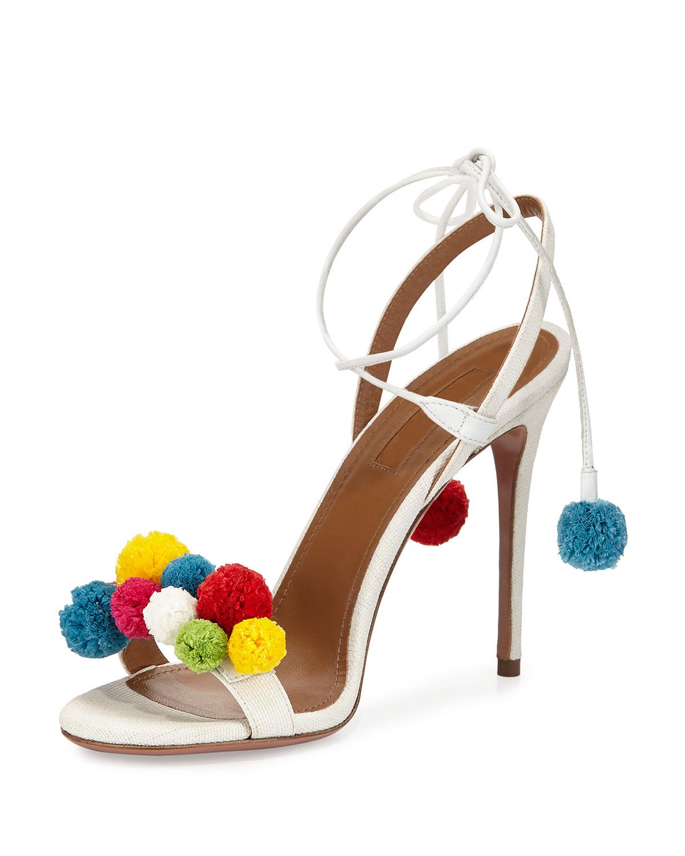 Luxefinds Fashion Shopping Engine High Heel Slides With Pompoms Raffia Pom Sandal White Multi Size 395b 95b