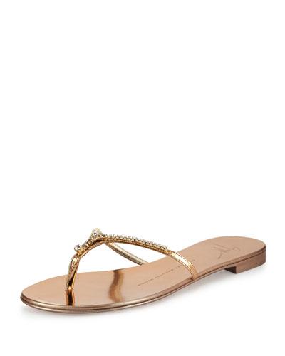 Nuvorock Crystal Flat Thong Sandal, Ramino