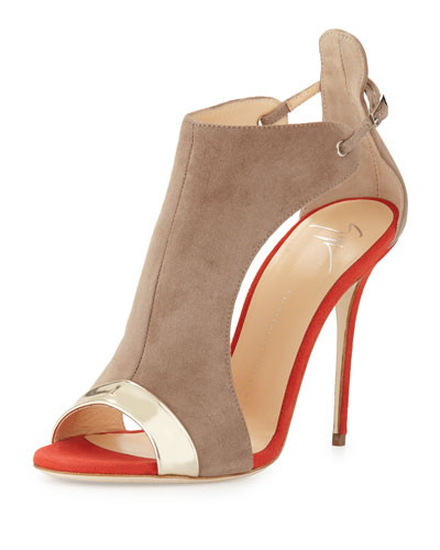 Two-Tone Suede Open-Toe Sandal, Platino