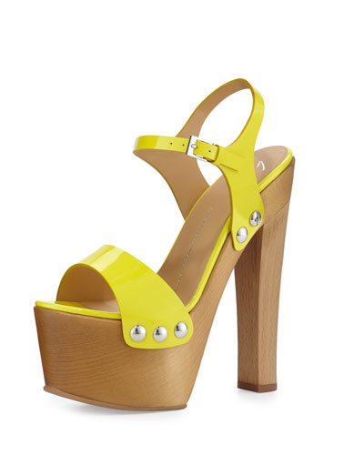 Studded Patent Clog Sandal, Oikos