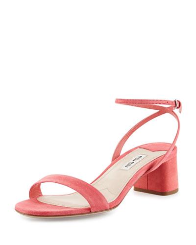 Suede 45mm Ankle-Wrap Sandal, Geranio