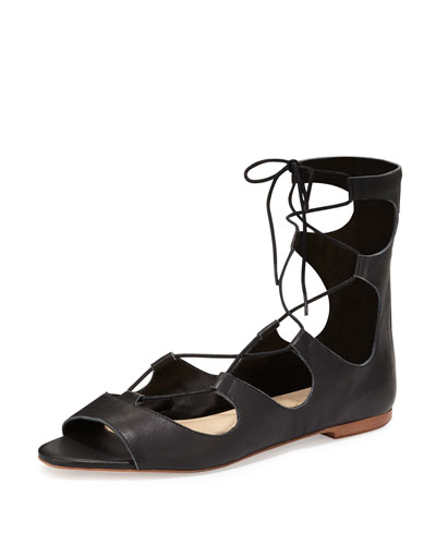 Dani Open-Toe Leather Ballerina Flat, Black