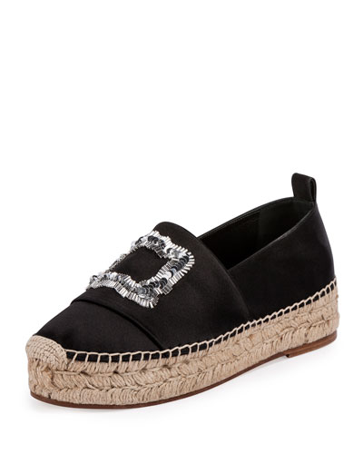 Sequined Satin Espadrille Flat, Black (Nero)