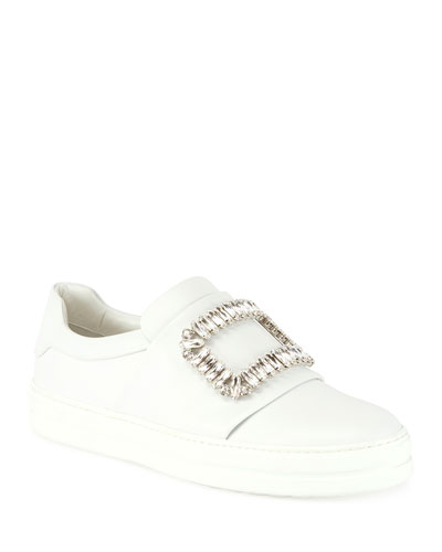 Leather Strass Buckle Sneaker, White (Bianco)