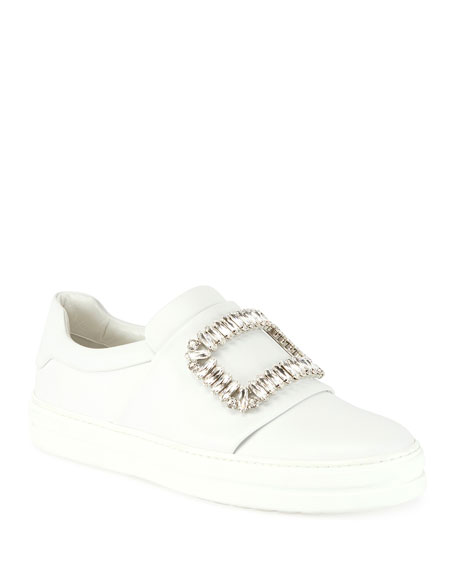 Roger Vivier Sneaky Viv Leather Sneakers, White (Bianco)