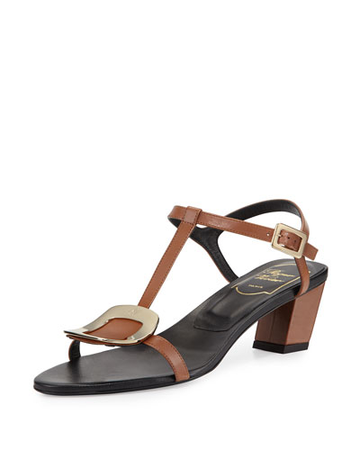 Chips Leather T-Strap Sandal, Cognac Scuro