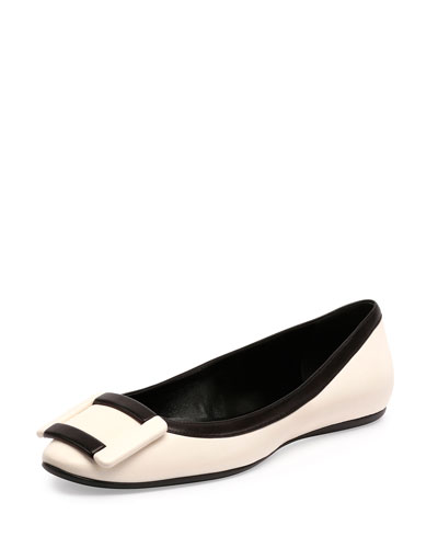 Two-Tone Leather Gommette Flat, Wax/Black