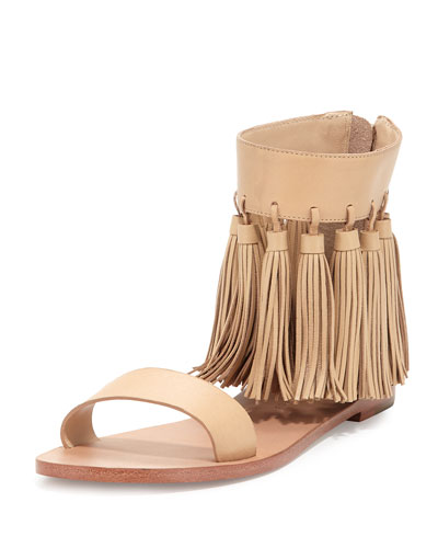 Lark Tassel Leather Sandal, Wheat