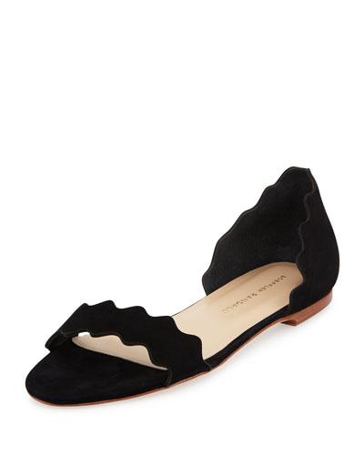 Lina Scalloped Nubuck Sandal, Black