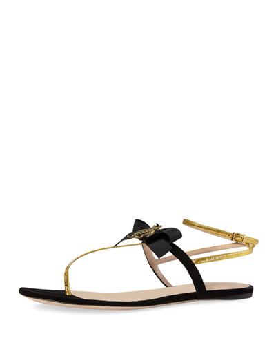 Moody Bow Thong Sandal, Nero/Oro