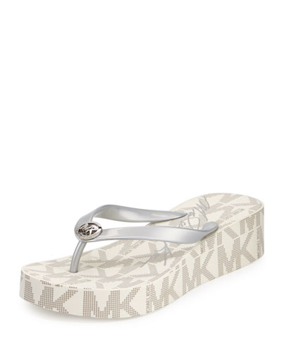 Bedford Logo-Print Wedge Thong Sandal, Silver