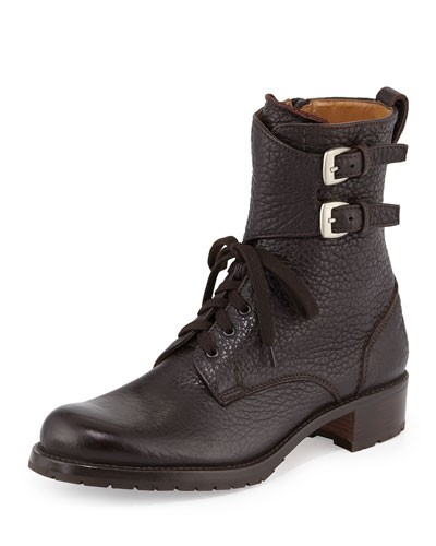 Double-Buckle Leather Combat Boot, Brown
