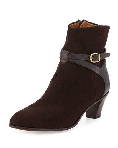 Suede Ankle-Strap Bootie, Dark Brown