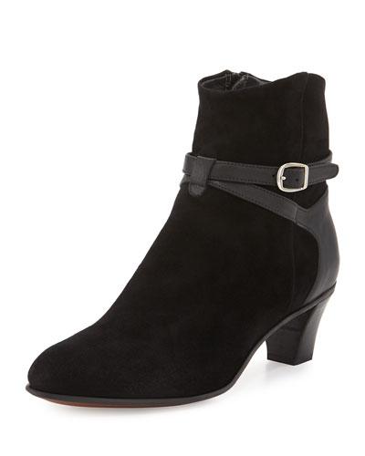 Suede Ankle-Strap Bootie, Black