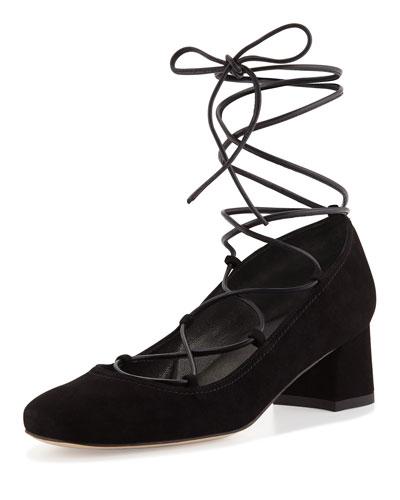 Cordon Lace-Up Ballerina Pump, Black