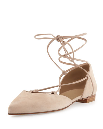 Gilligan Lace-Up d'Orsay Flat, Bisque