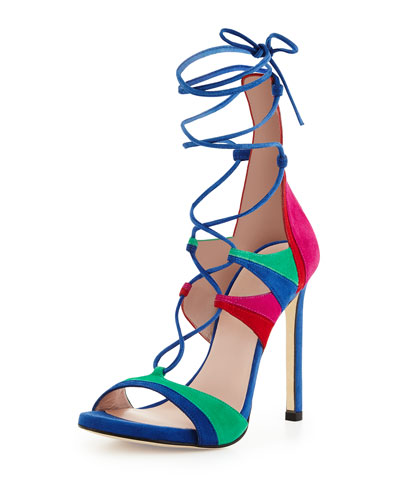 Legwrap Colorblock Suede Sandal, Bright