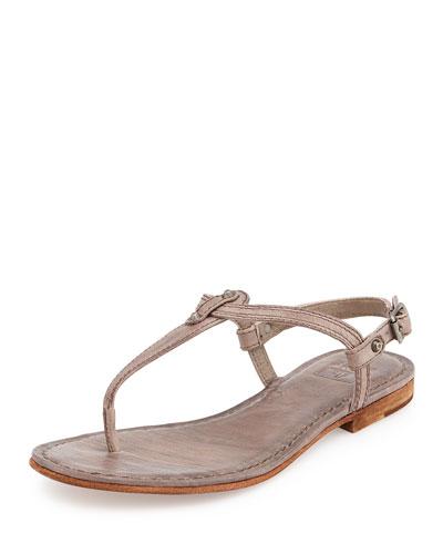 Carson Leather Thong Sandal, Gray