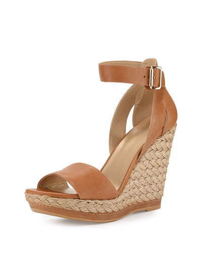 Mostly Platform Leather Wedge Espadrille Sandal, Camel