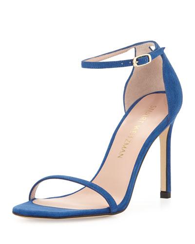 Nudistsong Suede Ankle-Wrap Sandal, Ultramarine
