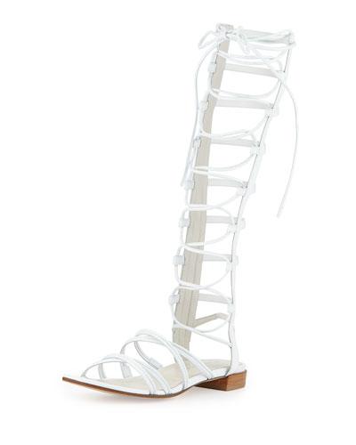 Sparta Lace-Up Gladiator Sandal, White