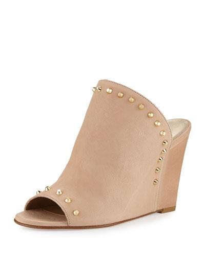 Upfrontal Studded Leather Wedge Slide Sandal, Nude