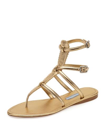 Flat Metallic Thong Gladiator Sandal, Light Gold (Platino)