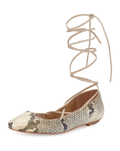Faith Python-Print Lace-Up Ballerina Flat, Roccia