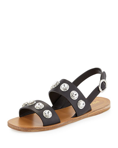 Crystal Double-Strap Sandal, Black (Nero)