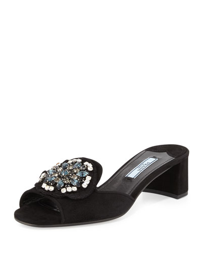 Brocade-Embellished Metallic Mule, Black (Nero)