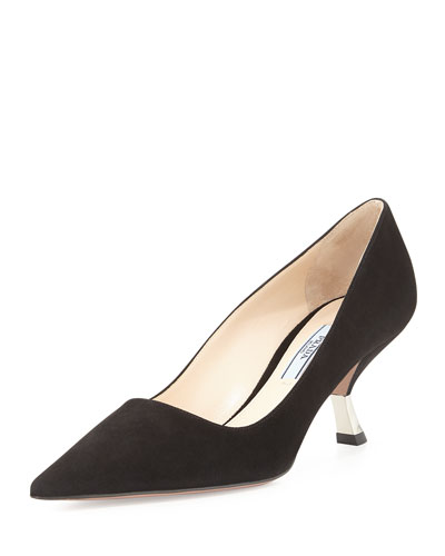 Suede Comma-Heel Pointed-Toe Pump
