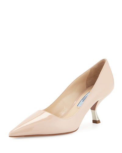Patent Comma-Heel Pointed-Toe Pump, Powder (Cipria)