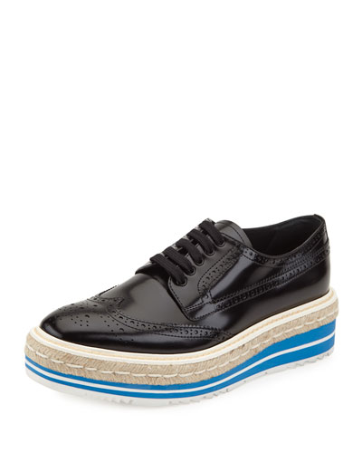 Platform Brogue-Trim Leather Oxford, Black
