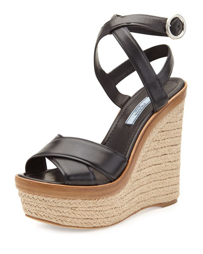 Leather Ankle-Wrap Wedge Sandal, Black (Nero)