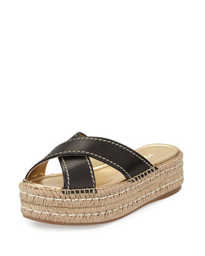 Leather Crisscross Espadrille Slide Sandal, Black (Nero)