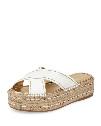 Leather Crisscross Espadrille Slide Sandal, White