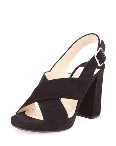 Suede Crisscross Chunky Sandal, Black (Nero)