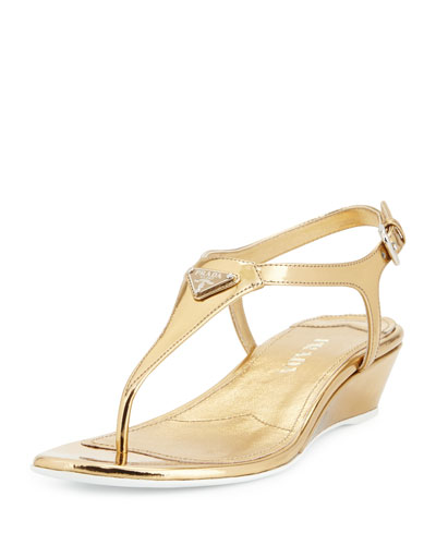 Patent Demi-Wedge Thong Sandal, Platino