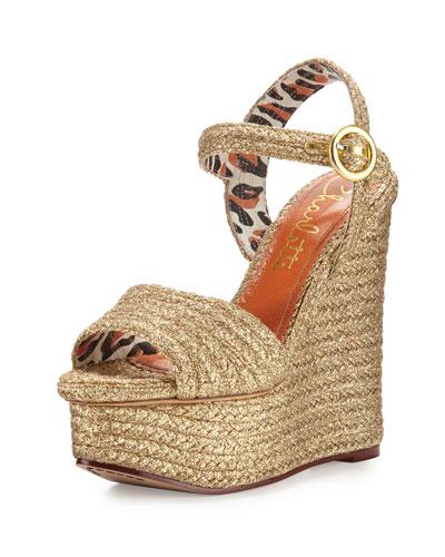 Karen Woven Metallic Wedge Sandal, Gold