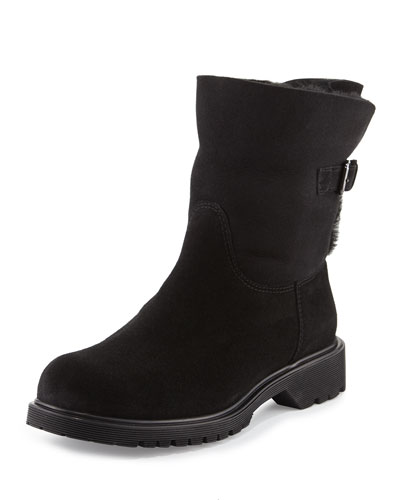 Honey Shearling Ankle Boot, Black