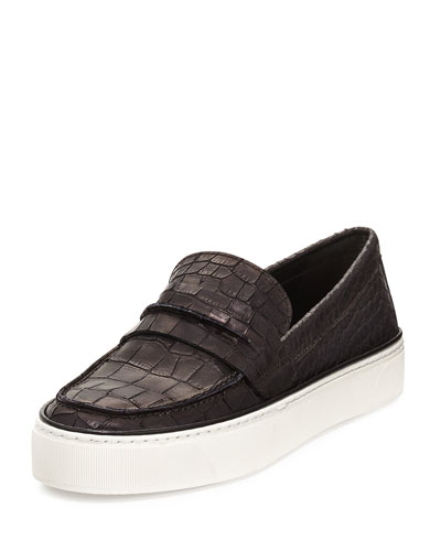 Lounge Crocodile-Embossed Loafer Sneaker, Black
