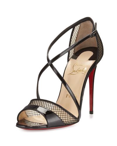 Slikova Patent Mesh Red Sole Sandal, Black