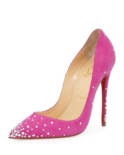 Degrastrass Suede 100mm Red Sole Pump, Indian Rose